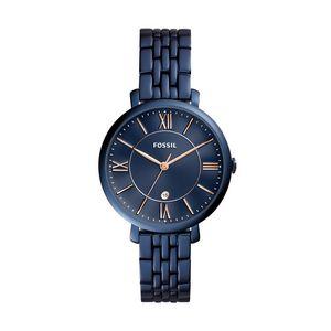 Custom Women's Jacqueline Three Hand Date Blue Stainless Steel Watch