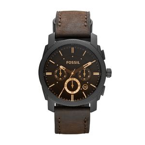 Custom Machine Mid-size Chronograph Brown Leather Watch