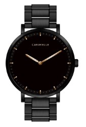 Custom Caravelle Men's Black Stainless Steel Bracelet Watch with Black Dial and Gold Tone Accents