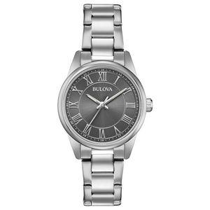 Custom Bulova Watches Ladies Silver Bracelet Watch with Round Grey Dial