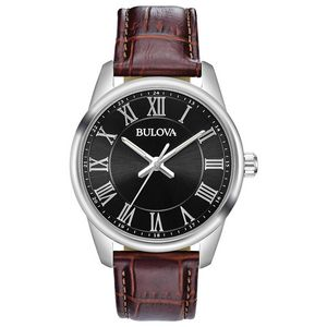 Custom Bulova Watches Men's Brown Leather Strap Watch with Black Dial