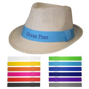 Embroidered Straw Fedora Hat - SFH-500 - IdeaStage Promotional Products b17fede593c