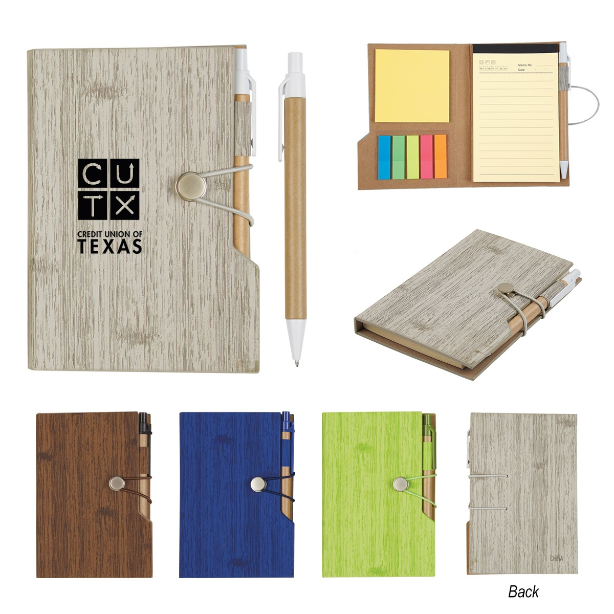 Woodgrain Look Notebook With Sticky Notes And Flags