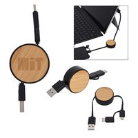 Bamboo Retractable 3-In-1 Charging Cable