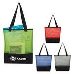 Custom Sheer Mesh Pinstripe Tote Bag