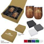 Custom 12 Oz. Woodgrain Alexander Stemless Wine Cup Gift Set