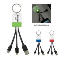 3-In-1 Clear View Light Up Cable Key Ring