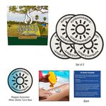5-Pack Sunburn Alert UV Color-Changing Stickers With Custom Pack
