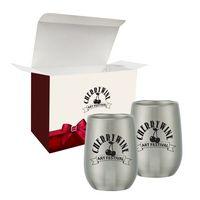 9 Oz. Stemless Wine Glass Set In Custom Box