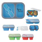 Custom Collapsible 2-Section Food Container With Dual Utensil