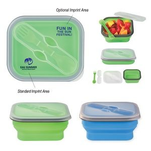 Collapsible Food Container With Dual Utensil