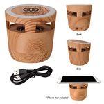 Custom Woodgrain Wireless Charging Pad And Speaker