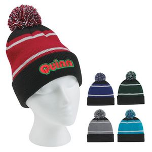 ea687097f59 Tri-Tone Striped Pom Beanie With Cuff - 1098 - IdeaStage Promotional  Products