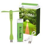 Custom UL Listed Charge-It-Up Power Bank & Mini USB Fan Combo