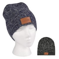Knit Beanie With Leatherette Patch