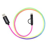 3-In-1 3 Ft. Rainbow Braided Charging Cable
