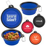 Custom Collapsible Silicone Pet Bowl w/ Carabineer