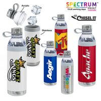 Dual Opening Stainless Steel Water Bottle - 20 Oz.