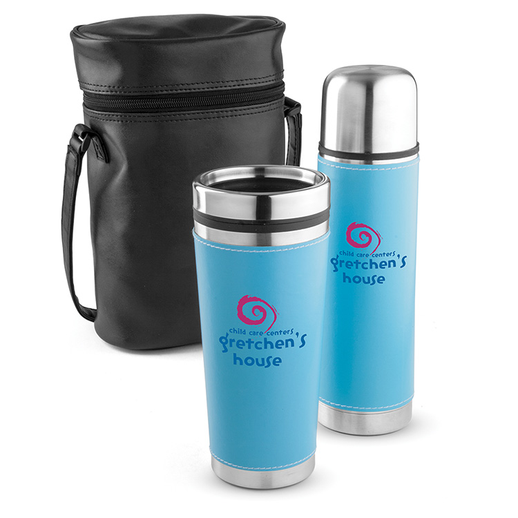 Leatherette Tumbler/ Vacuum Bottle Set