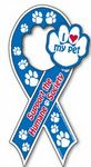 Screen Printed Auto Ribbon Magnet with Paw Shaped Center