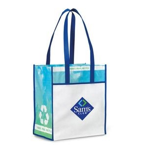 Vita Laminated Recycled Shopper Blue-White