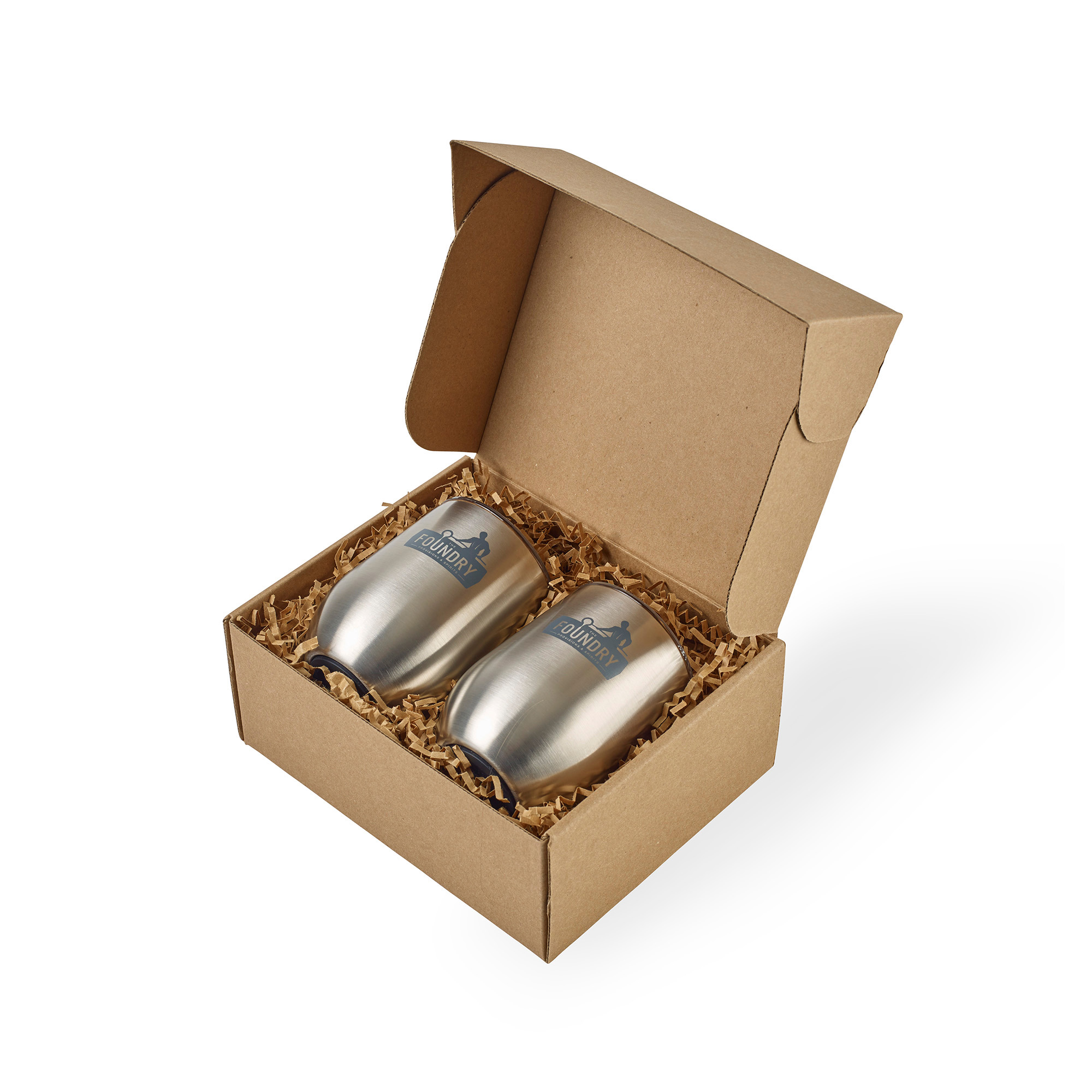 Corkcicle® Stemless Wine Cup Gift Set - Brushed Steel