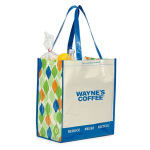 Laminated 100 percent Recycled Shopper Blue-White