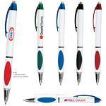 Custom Elliptic White Pen w/ Translucent Gripper