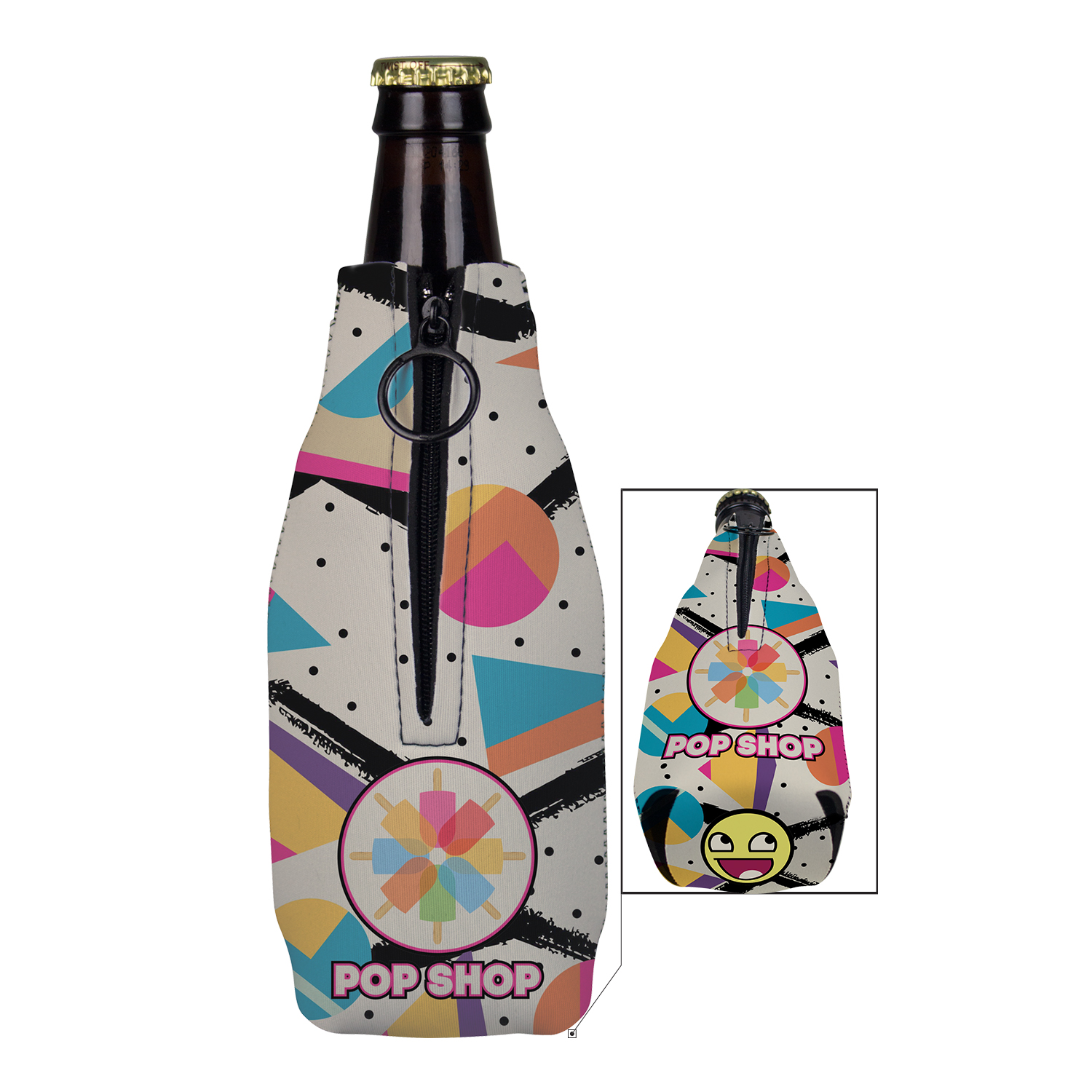 Full Color Neoprene Zippered Bottle Holder