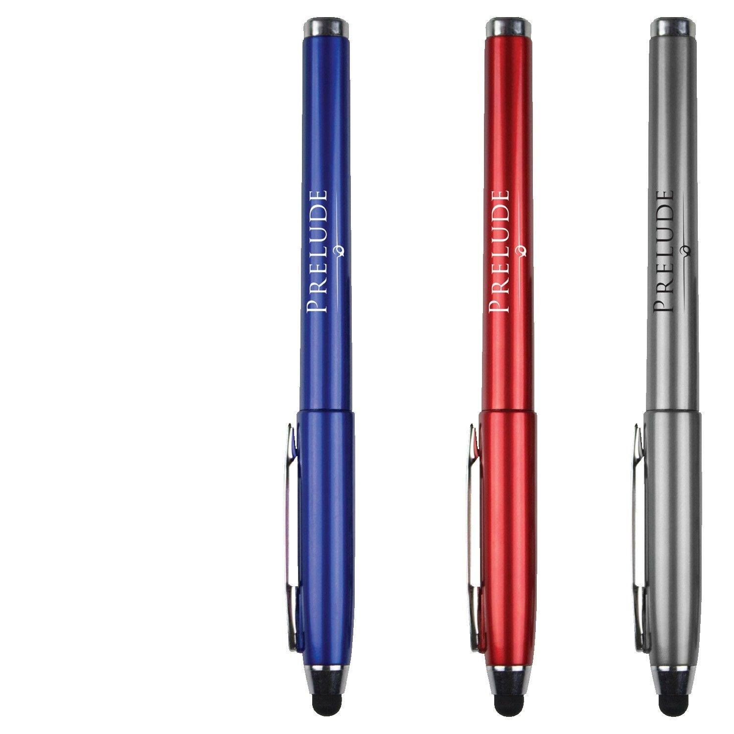 Ecbert Metallic Stylus Pen w/Blue Gel Ink and Cap