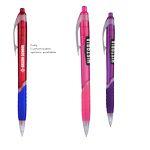 Custom Zinnia Translucent Pen w/ Gripper & Clear Accents