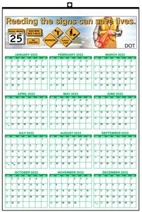 13x19 Year at A Glance Wall Calendar w/ 1/2x1/2 Date Box