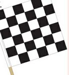 Checkered Large Hand Flag w/4' Wooden Staff