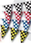 Custom 100' Checkered Triangular Race Track Starter Pennant (4 Mil.)