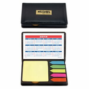 Sticky Notes Deluxe - Black Vinyl Case with Calendar, Sticky Note Pad and 5 Flag Colors