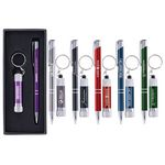 Custom Tres-Chic/Chroma - Laser Engraved Metal Pen & Flashlight Gift Set