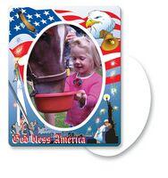 30 Mil Oval Center Patriotic Picture Frame Magnet - Full Color