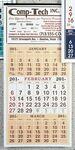 Custom 3-Color 12-Sheet 3-Month Display Calendars w/ Beige Tint (Thru 4/30)