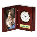 Custom Piano Wood Finish Book Clock & Picture Frame