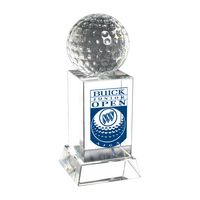 Trophy Award - Crystal Golf Ball mounted on top of a crystal podium style stand