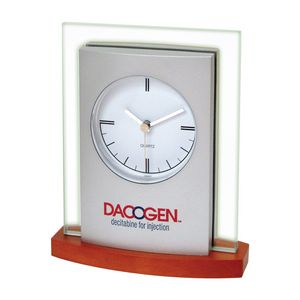 Desk Top Glass/ Wood Clock w/Brown Wood Base