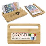 Custom Bamboo Wireless Charging Pad w/Phone Stand