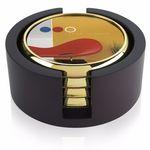 Jaffa® Four Round Radiant Coasters w/Wood Tray