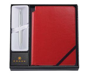 Custom Calais Satin Chrome Ballpoint Pen w/Medium Crimson Journal