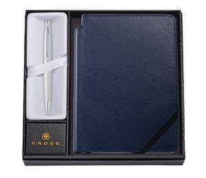 Custom Calais Satin Chrome Ballpoint Pen w/Medium Midnight Blue Journal