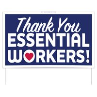 "Thank You Essential Workers Double-Sided Yard Sign (16""x26"") Includes Wire Frames"