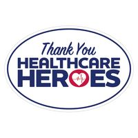 "Thank You Healthcare Heroes Ultra Removable Adhesive Bumper Sticker (4""x6"")"