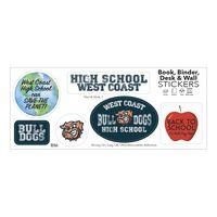 """Book, Binder, Desk & Wall Sticker Sheet/ 6 Stock Shapes (3 3/4""""x9"""" Sheet)"""