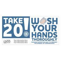"""Take 20! Wash Your Hands Sticker (4"""" x 8"""")"""