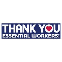 "Thank You Essential Workers Ultra Removable Bumper Sticker (3""x11 1/2"")"